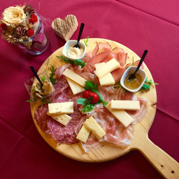 Plate of mixed cold cuts and cheese